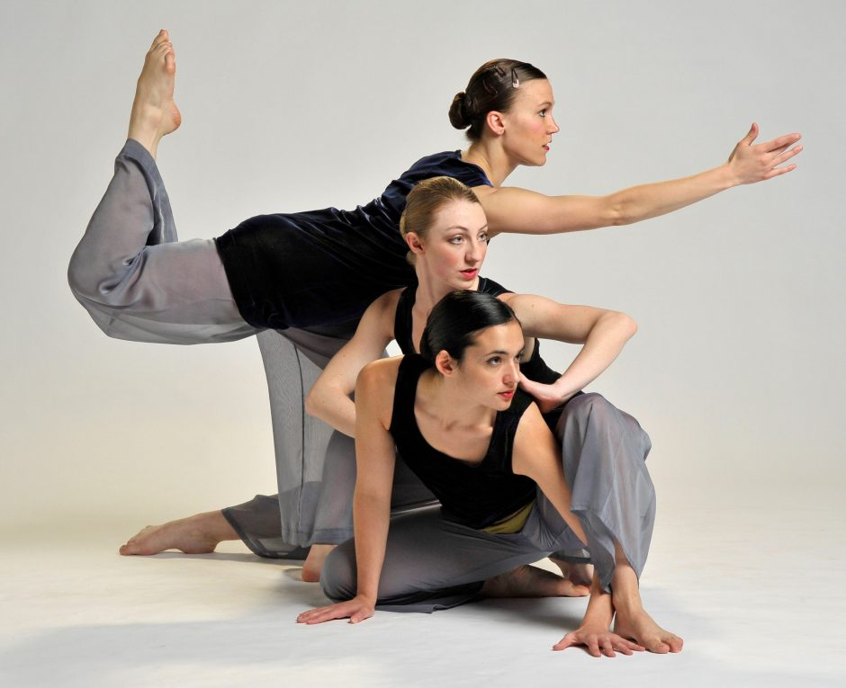 Marie Klaiber (top), Louisa Barta (center) and Maggie Ciambrone are among the six members of the Ellen Sinopoli Dance Company, celebrating its 25th anniversary season on Friday at The Egg. (Gary Gold)