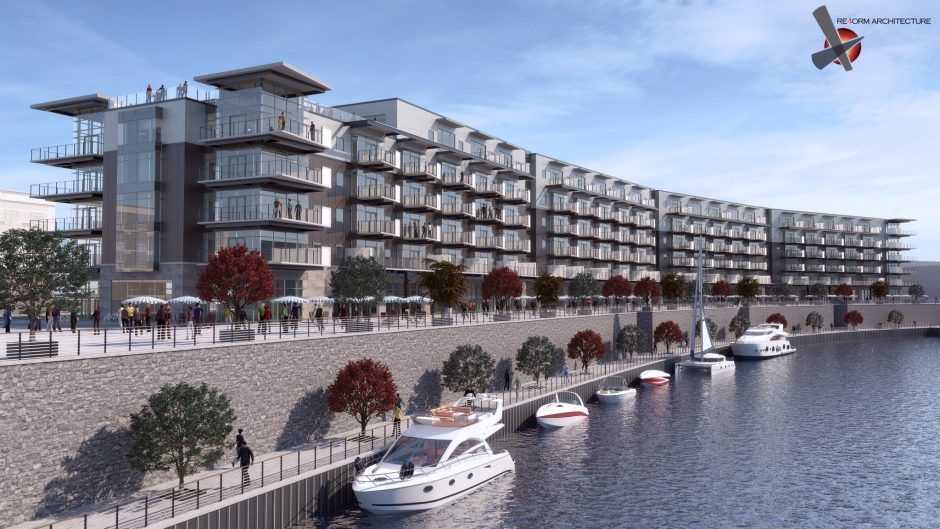 A rendering of the apartments being built at Mohawk Harbor in Schenectady.