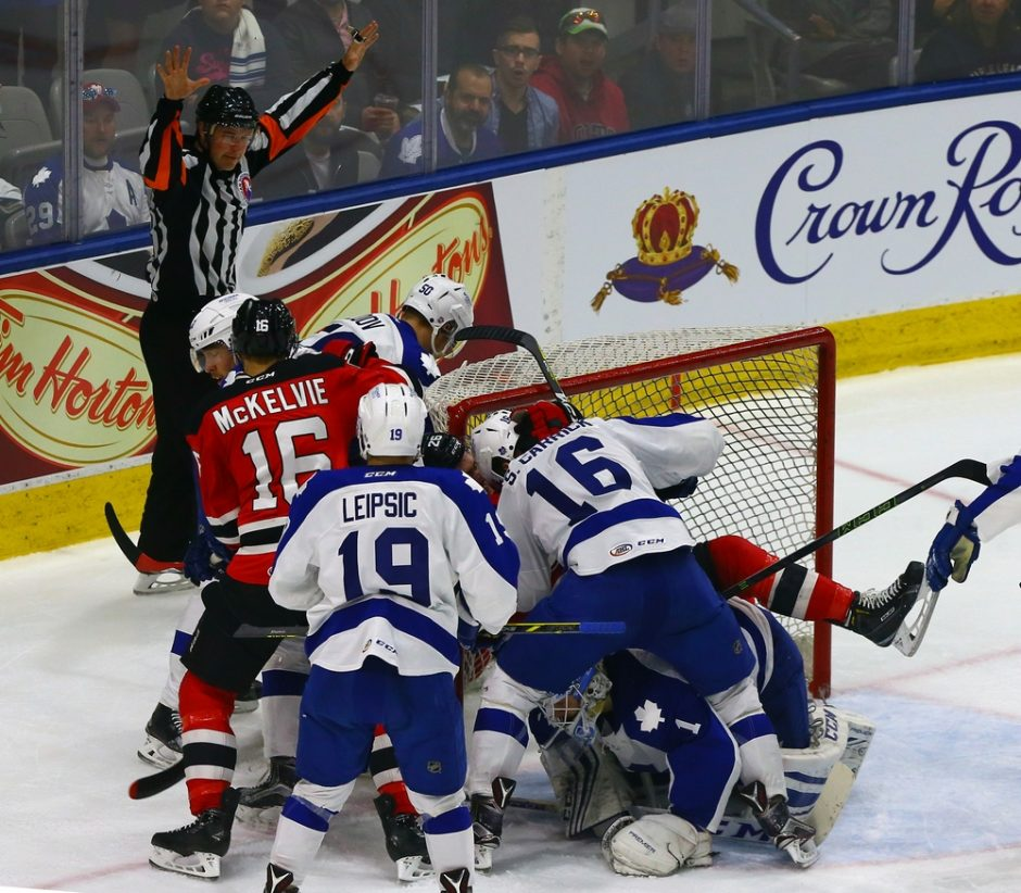 In this mad scramble of an AHL playoff series between the Albany Devils and Toronto Marlies, no one can say for certain how the decisive Game 7 will play out tonight at Ricoh Coliseum in Toronto. (Photo: Graig Abel)