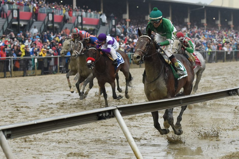 Kent Desormeaux aboard Exaggerator (5) wins during the 141st running of the Preakness Stakes at Pimlico Race Course Saturday, defeating Kentucky Derby winner Nyquist (3).