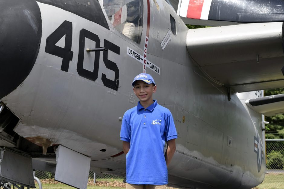 Rotterdam's Isaiah Gershon, 12, has served as a volunteer tour guide at the Empire State Aerosciences Museum in Glenville for more than two years.