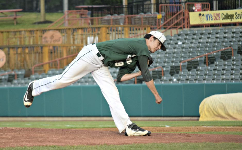 Shen's Ian Anderson delivers a pitch in the state regional final against Cicero-North Syracuse Saturday at Joe Bruno Stadium. Anderson struck out 16 in the 5-1 win.