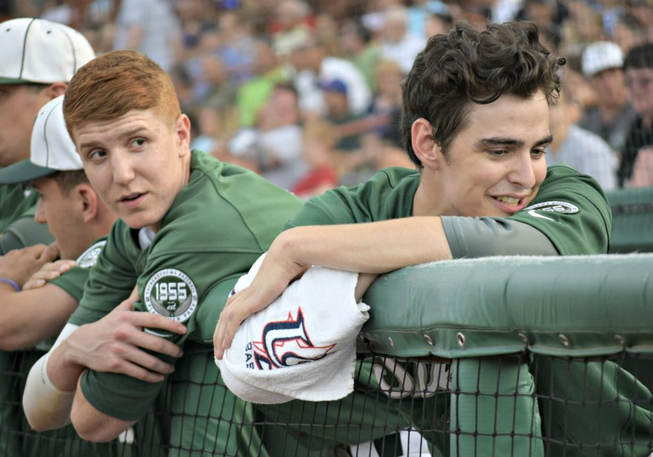 Shenendehowa's Kevin Huerter, left, and Ian Anderson are shown together during Saturday's Section iI Class AA championship game in Troy.
