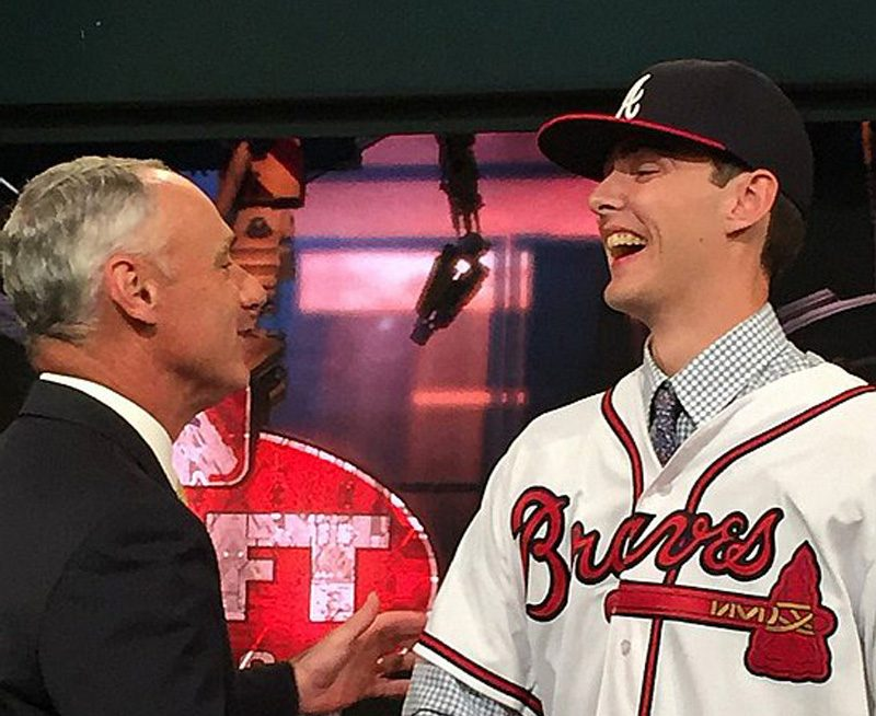Shenendehowa High School senior Ian Anderson is congratulated by Commissioner Rob Manfred after the pitcher was selected third overall by the Atlanta Braves Thursday night in the Major League Baseball First-Year-Player Draft. (MLB via Twitter