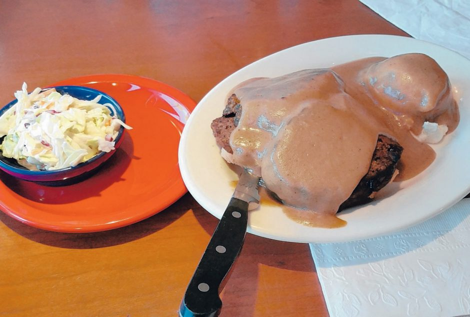 The hot open meatloaf sandwich at Tops American Grill. (Beverly M. Elander photo)