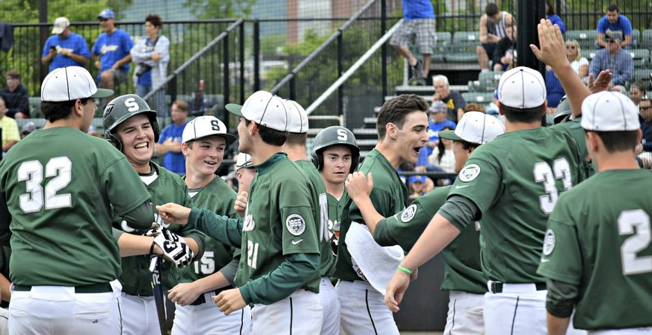 Shenendehowa players celebrate a run during the state title game.