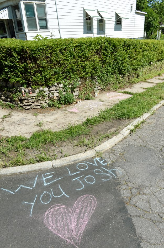 The site where Joshua Scism was shot by a Schenectady police detective on Monday evening is marked in chalk on Wednesday.