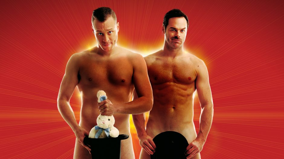 Magicians Christopher Wayne and Mike Tyler pose naked