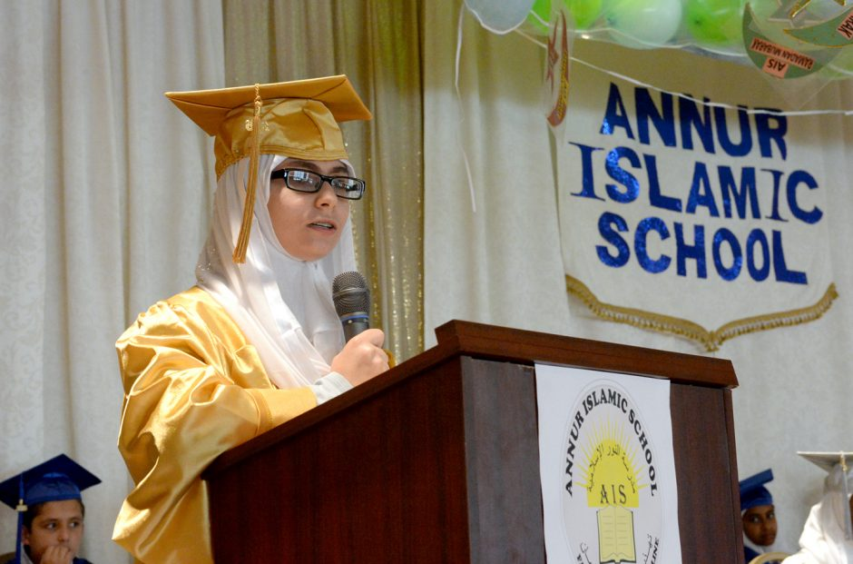 The Annur Islamic School held it's first graduation and awards ceremony on Thursday June 23,2016. Amnah Dhailia first 2015-2016 High School graduate speaks during the commencement.