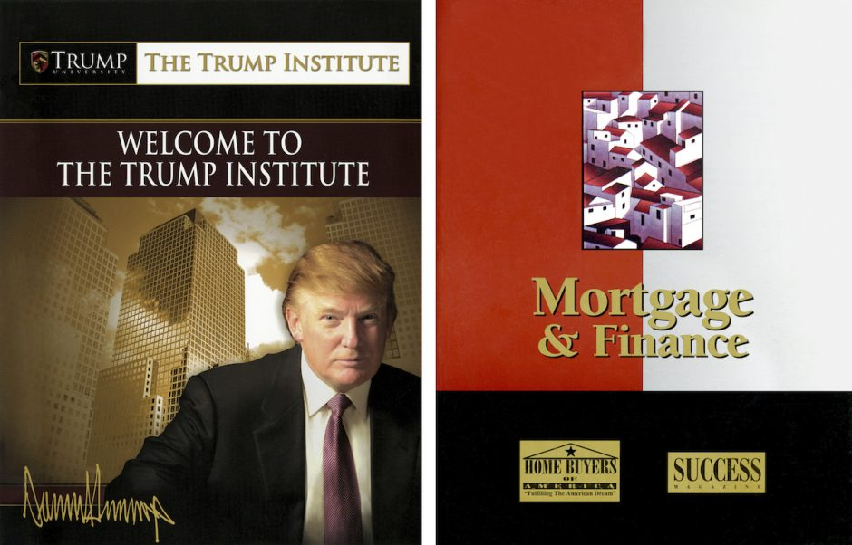 Undated handout images of a book, at left, from The Trump Institute, and, at right, a publication of Success magazine, a book in the 'Real Estate Mastery System,' from which contents were taken without attribution. In 2005, the same year that Trump pou...