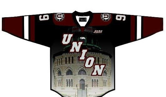 Union College is introducing new home and road jerseys and two alternate uniforms, including this jersey that pays tribute to Nott Memorial.