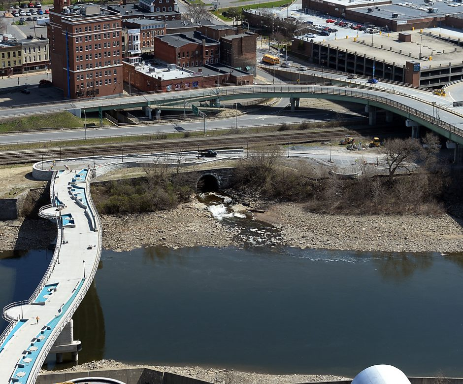 Aerial photograph of the Chuctununda Creek  that empties out into the Mohawk River in Amsterdam.