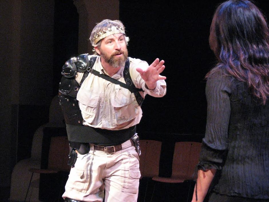 """Stephan Wolfert wrote and performs in his one-man play, """"Cry 'Havoc!' """" opening next Wednesday at Shakespeare & Company. (John Boccat)"""