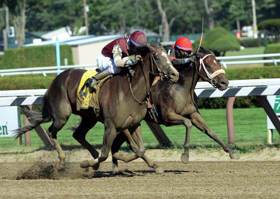 Haveyougoneaway, outside, with Kendrick Carmouche up, overtakes leader Paulassilverlining to win the $200,000 Honorable Miss Stakes Wednesday at Saratoga Race Course.