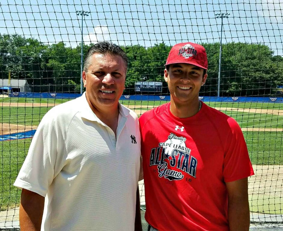 Before playing in this summer's Cape Cod Baseball League All-Star Game, Justin Yurchak, right, poses with Shenendehowa baseball coach Greg Christodulu.