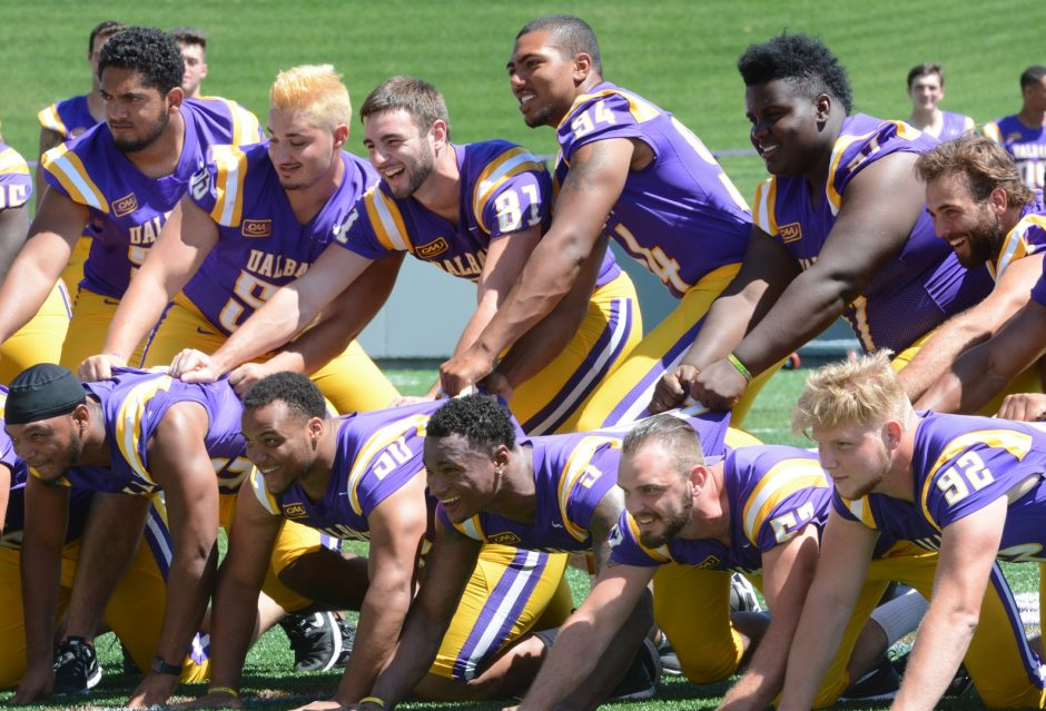 Members of the University at Albany football team pose on Media Day Tuesday.