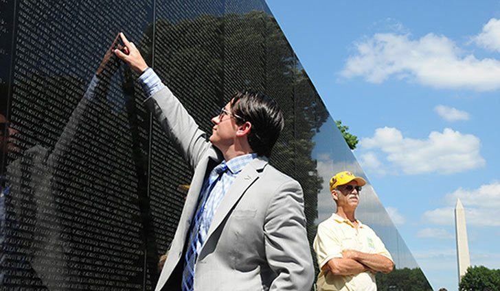 Andrew Brennan, a former Army captain who served as a pilot in Afghanistan, was struck with the idea for a post-9/11 war memorial on the Mall when he witnessed the annual Rolling Thunder visit to the Vietnam Veterans Memorial in 2014. Here he points to...