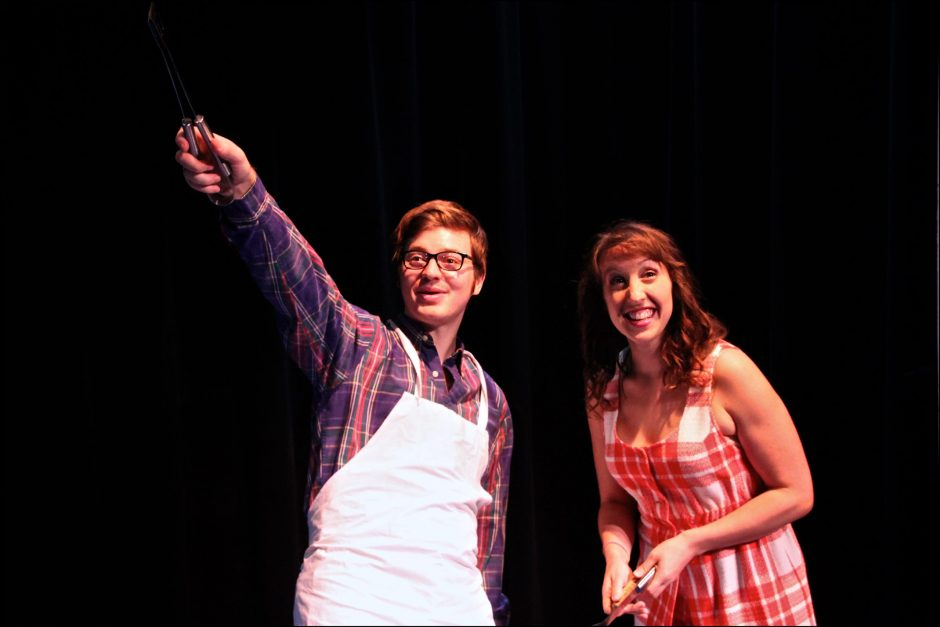 Jared Spigler plays Barry Bockman and Patti DeMatteo is Sarah Jackman in 'Hello Muddah, Hello Father! The Allan Sherman Musical,' opening tonight at The Theater Barn in New Lebanon. (Sarah Kozma)