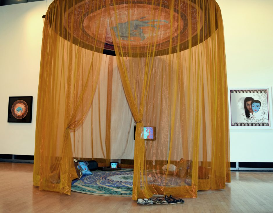 Siona Benjamin's show at the Opalka Gallery will  feature  an  interactive  installation titled 'My  Magic  Carpet,'  a  gold  tent  11  feet  in diameter  in  which  viewers  will  be  invited  to recline.