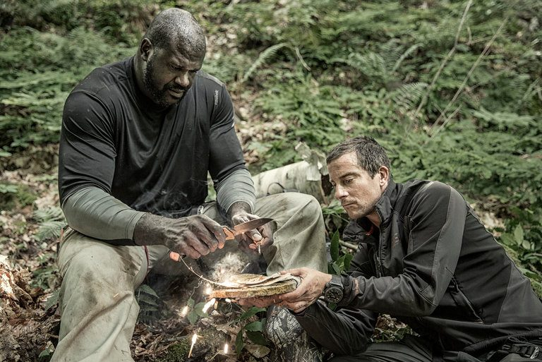 Shaquille O'Neal and Bear Grylls in the Adirondacks.