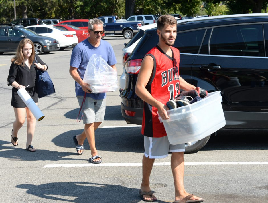 Union College move-in day was held on Sunday September 4, 2016. Incoming freshmen were dropped off by family members while students moved into their dorm rooms. Freshman, Nathan Steckler, of Connecticut, leads the way to his dorm room.