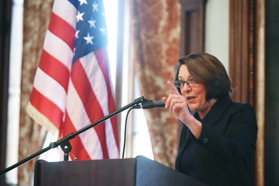 """Saratoga Mayor Joanne Yepsen delivers her State of the City Address at the Canfield Casino in Congress Park on Jan. 30. """"The city looks forward to the public workshop and listening to the feedback regarding the general policy direction and items of con..."""