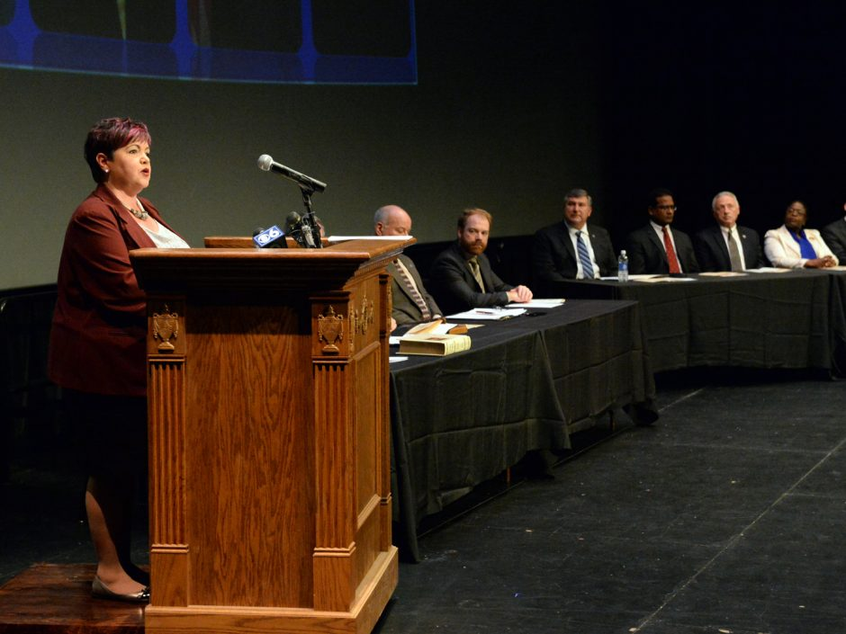 Schenectady City Council President Leesa Perazzo speaks during the City Council Organizational Meeting at the G.E. Theater at Proctors on January 1. The City Council voted Monday to use money from the city's general fund to pay for a new contract with ...