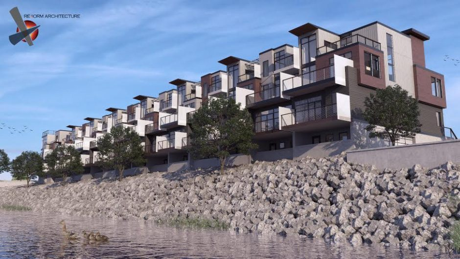 A rendering of the Galesi Group's 15-unit townhouse building on the Mohawk Harbor site off Erie Boulevard in Schenectady.