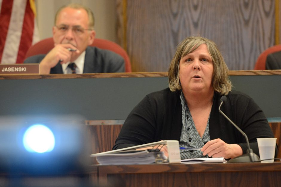 Kathleen Rooney outlines the 2016 capital budget during a meeting of the Schenectady County Legislature on September 30, 2015. The Legislature will beginits 2017 budget review process today.
