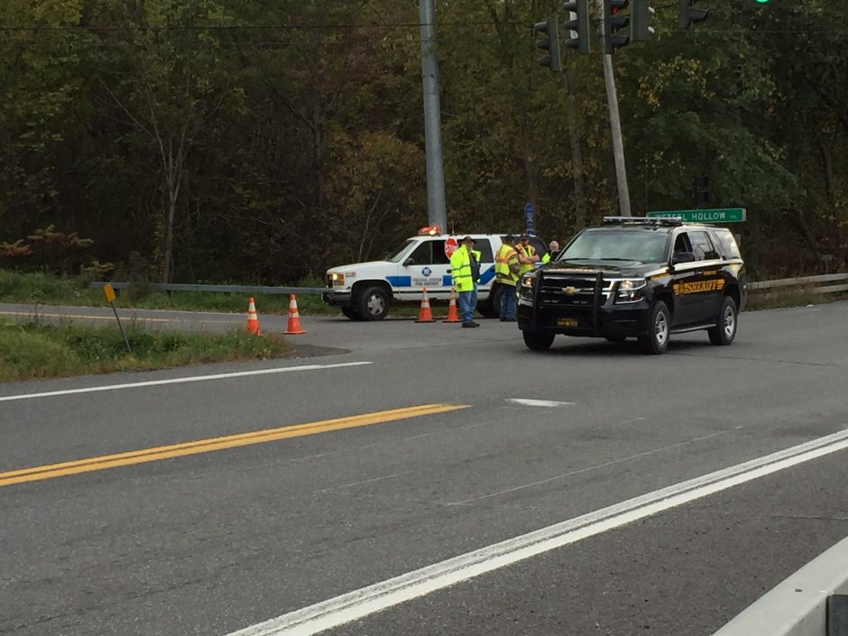 Schoharie County Sheriff on the scene with New York State Police.
