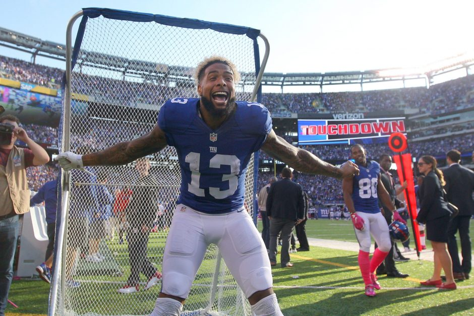 New York Giants wide receiver Odell Beckham Jr. celebrates after scoring a 66-yard touchdown against the Baltimore Ravens late in the fourth quarter at MetLife Stadium. Beckham scored twice and had 222 yards receiving in the Giants' 27-23 win.