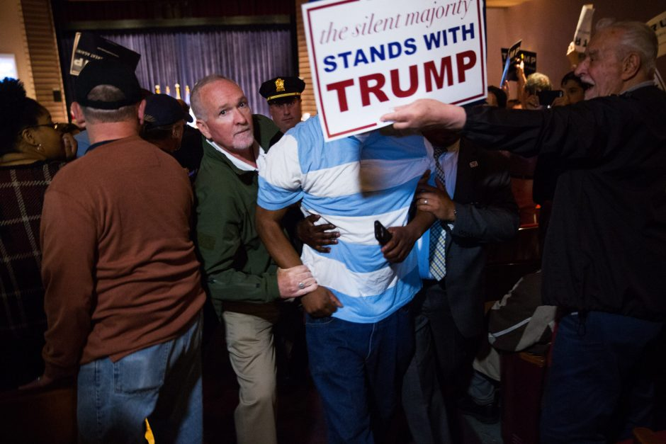 Security guards haul off an apparent protester at Donald Trump's campaign rally in Bridgeport, Conn., on April 23. After the release of a hidden-camera video of two former Democratic National Committee operatives discussing plans to start fights at Tru...