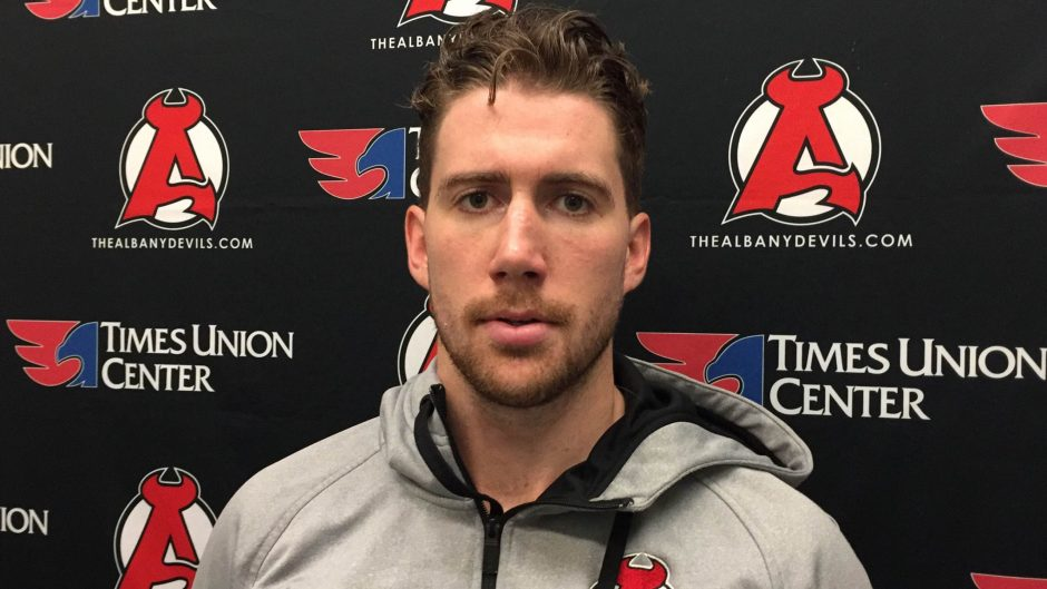 Albany Devils defenseman Andrew MacWilliam was ejected from a game last weekend for getting into two fights.