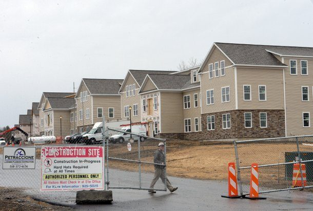 A construction worker died after a fall at the Iroquois Village Apartments construction site on Alice Wagner Way, off Hillside Avenue, in Niskayuna, seen here in March.