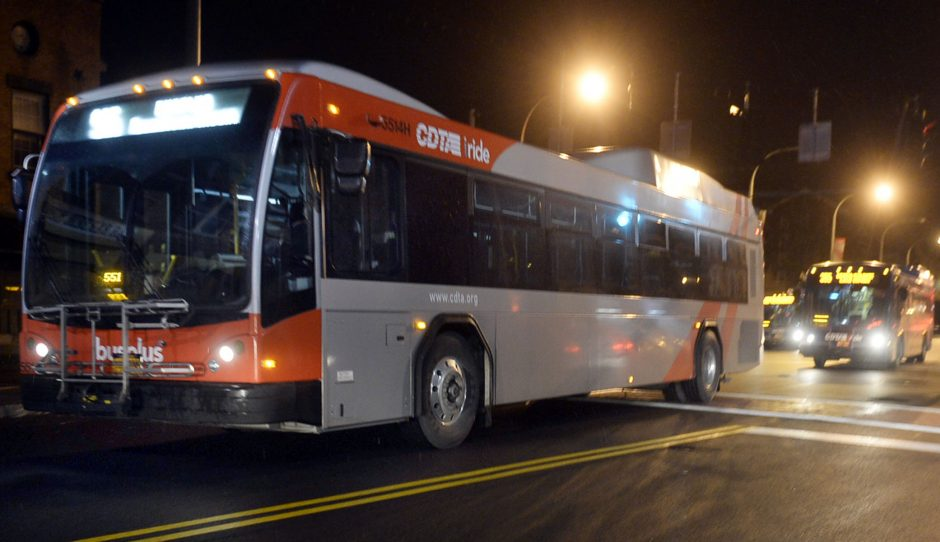 CDTA buses leave the bus stop on State Street in Schenectady in 2014.