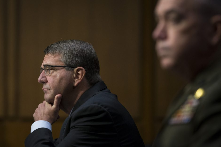 Defense Secretary Ash Carter on Capitol Hill in Washington on April 28.