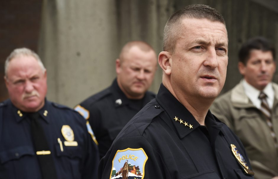 Schenectady Police Chief Eric Clifford addresses members of the media regarding the suspension of Sgt. Anthony Moore in front of Police Headquarters on Liberty Street Wednesday, November 2, 2016. Assistant Chief Jack Falvo, Sgt. Mattew Dearing, and Ass...