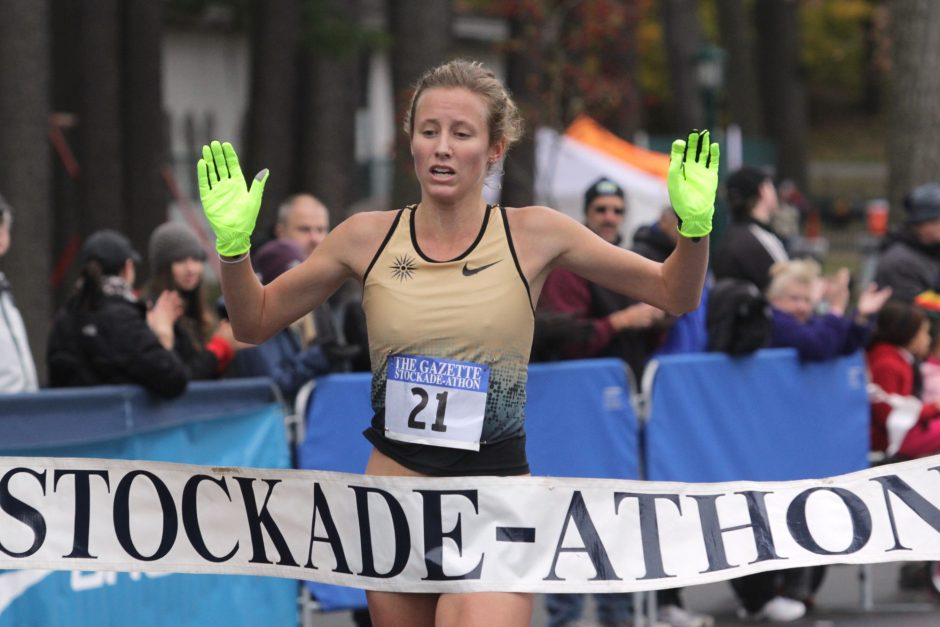 Hannah Davidson, shown winning the Stockade-athon in 2013, is a favorite to win the women's division again Sunday. She also won in 2015.