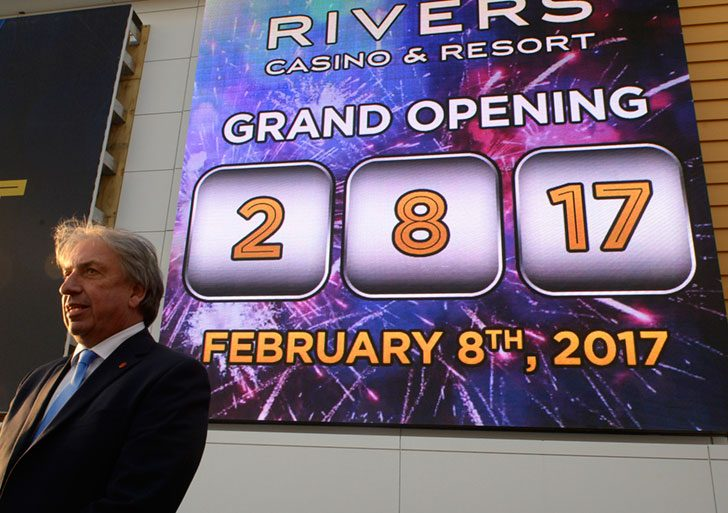 Gelesi Group President and CEO David Buicko speaks after the announcement of the opening date of the Rivers Casino & Resort