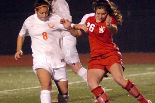 Kayla Treanor of Niskayuna, right, and Michelle Primomo of Bethlehem battle for first half ball control in Wednesday Class AA sectional game held at Broadalbin.