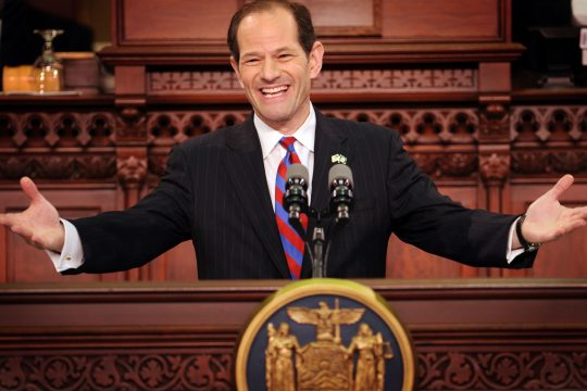 Gov. Eliot Spitzer gestures during his State of the State address Wednesday.