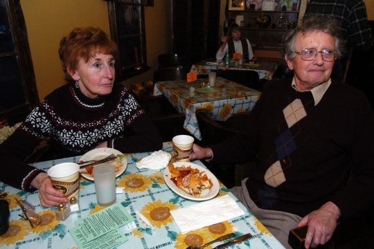 """Les Cairns and his wife, Pat, of Clifton Park, dine at Chez Daisie in Schenectady Thursday evening after seeing """"Spamalot"""" at Proctors."""