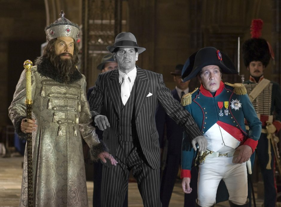 Three of history's notorious figures — from left, Ivan the Terrible (Christopher Guest), Al Capone (Jon Bernthal) and Napoleon Bonaparte (Alain Chabat) pause during the epic Battle of the Smithsonian in the â&#128