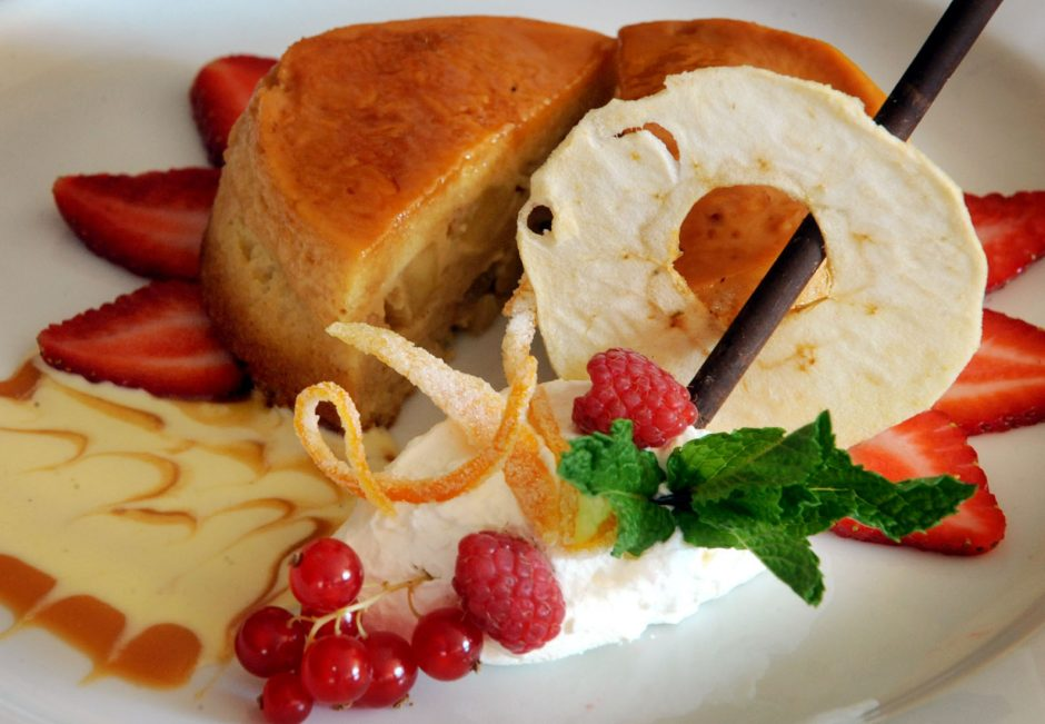 Bread pudding can be created in a number of variations, often with fruits such as cranberries, oranges, raspberries and apples. This one was prepared by pastry chef John Vasquez of Tosca Grille in Troy.