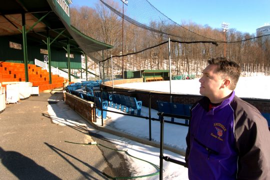 Rob Spagnola, recreation director for Shuttleworth Park in Amsterdam, looks over renovations to the grand stand and ballfield Wednesday.
