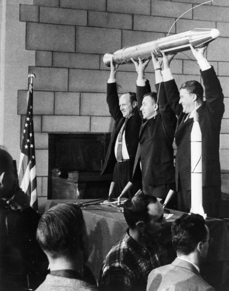 The three men responsible for the success of Explorer 1, America's first satellite, launched Jan. 31, 1958: from left, JPL director William H. Pickering, James Van Allen and Wernher von Braun.