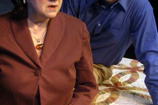 """David Orr, as Ray, and Barbara Richards, as Irma, rehearse a scene from """"Looking for Normal."""""""