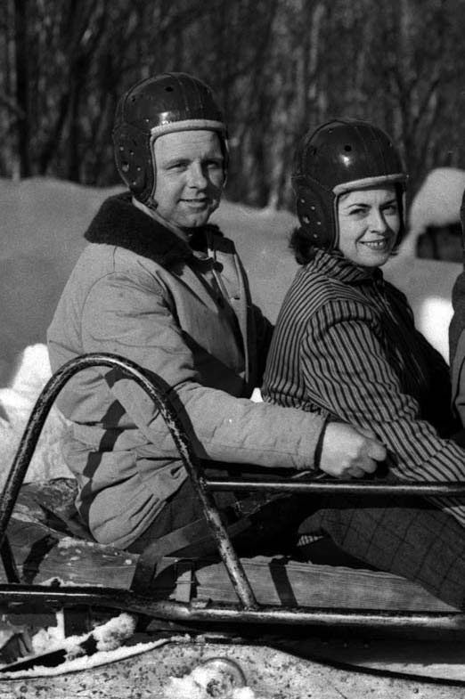 Schenectady Gazette reporter Kathy McGarry Muller, right, prepares for a swift ride down the ice of Mount Van Hoevenberg's bobsled run during the winter of 1956.