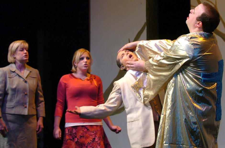 """Rehearsing a scene from """"Bat Boy"""" at Schenectady Light Opera Company are, from left, Laurie Larson, Molly McGrath, Sean Fagan and Michael Lotano."""