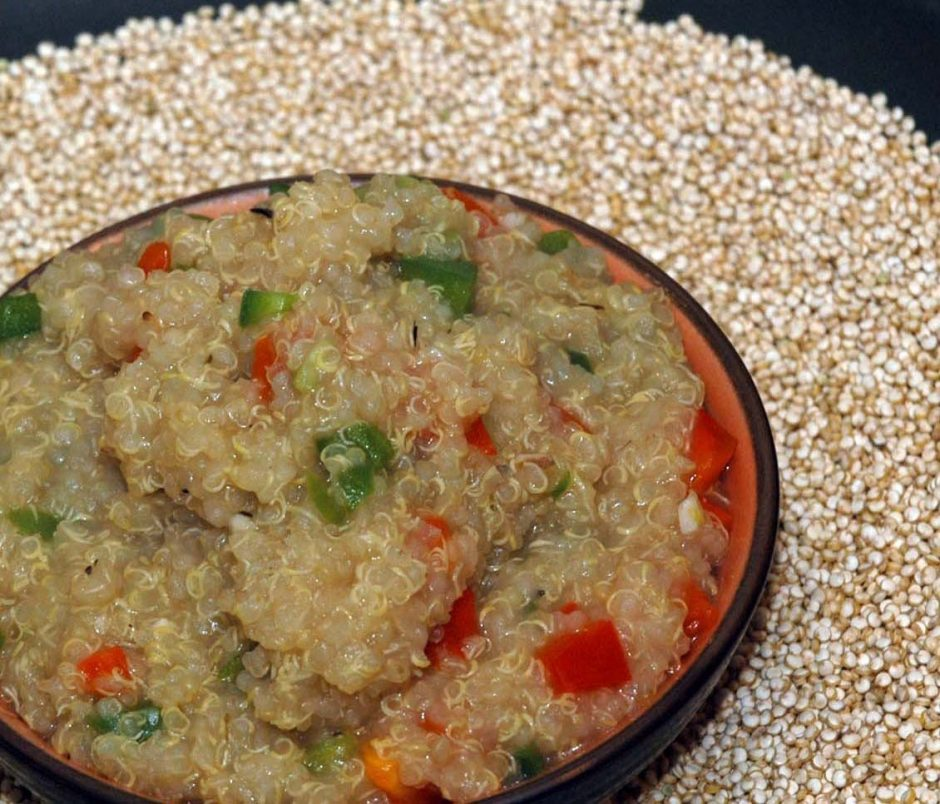 This recipe for Quinoa Pilaf with Red and Green Bell Peppers is from the Culinary Institute of America in Hyde Park.